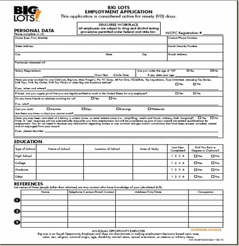 Big Lots Application   Online Job Employment Form NAkIxCtz