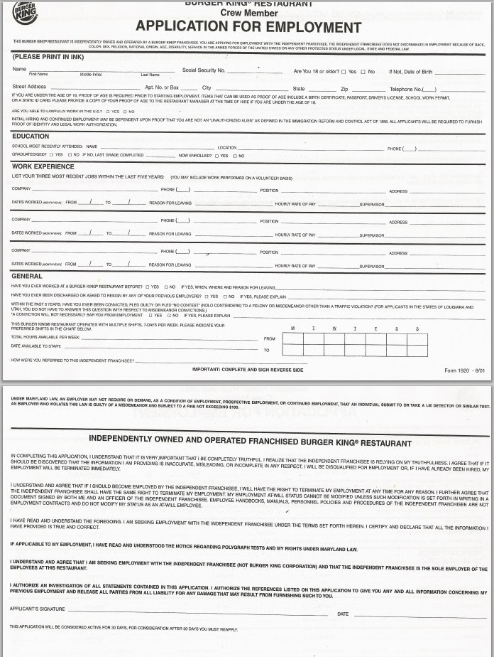 Burger King application form